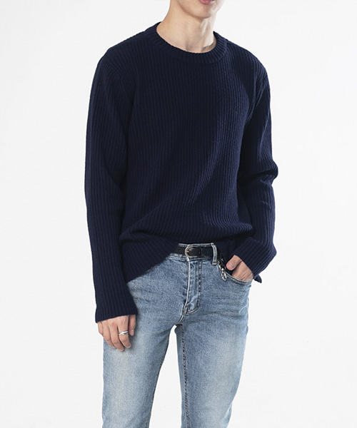RIBBED WOOL CREW NECK SWEATER [NAVY]