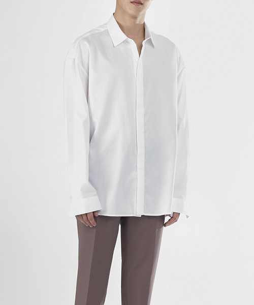 [핸드메이드]  OVERFIT HIDDEN SHIRTS [EGYPTION WHITE]