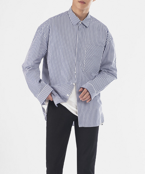 [핸드메이드] OVERFIT HIDDEN BIAS POCKET SHIRTS [NAVY]