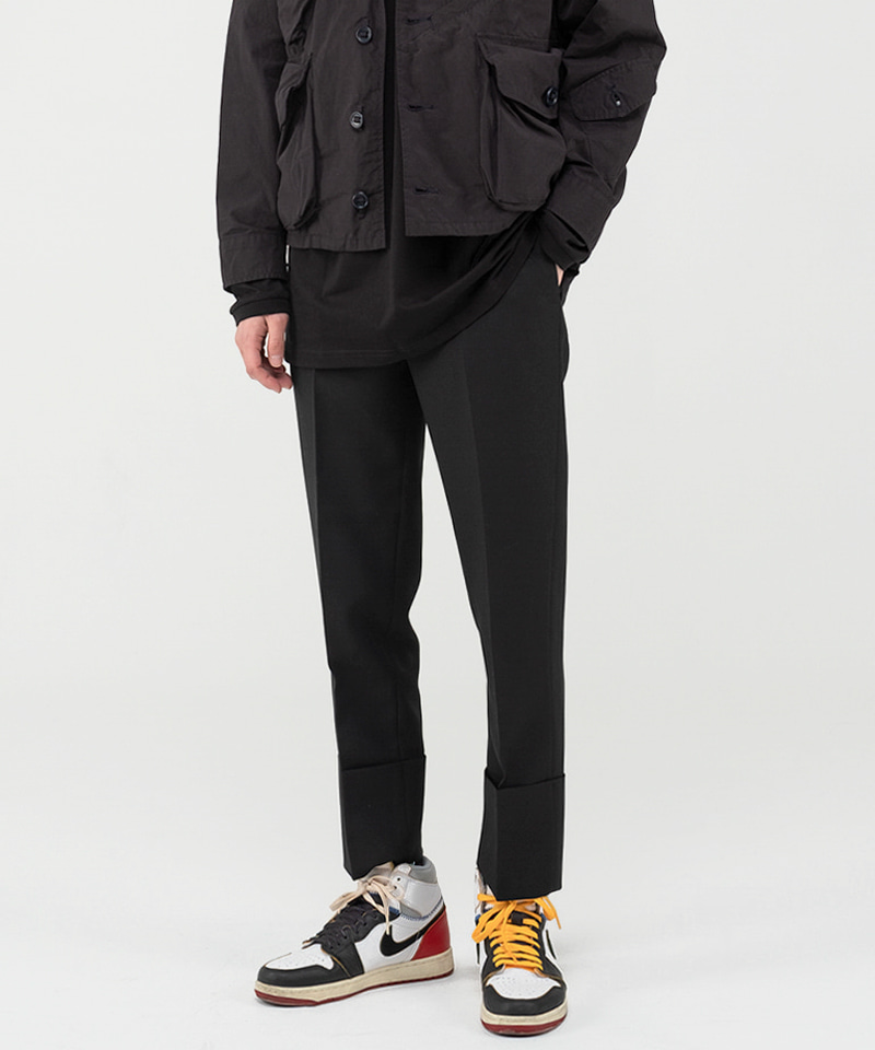 8001 LONG TURN UP SLACKS [BLACK]