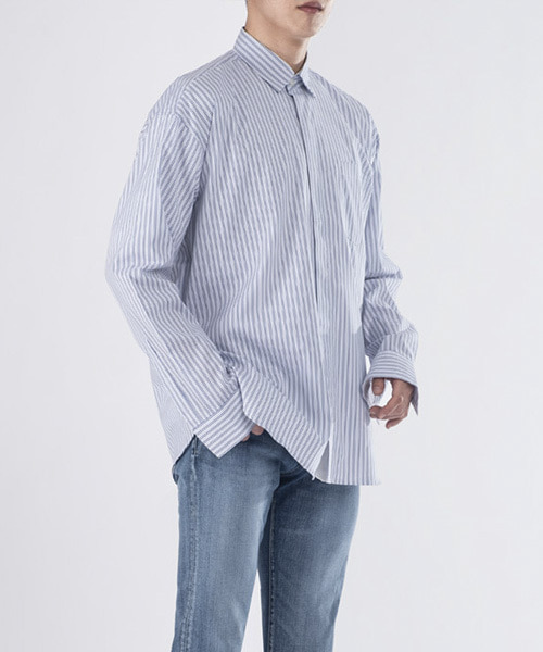 [핸드메이드] HIDDEN OVERFIT SHIRTS [WHITE STRIPE]