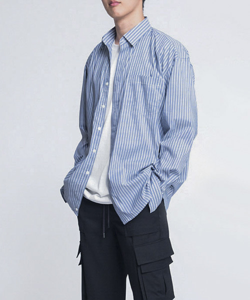 [2차 재입고] HIDDEN OVERFIT SHIRTS [NAVY STRIPE]